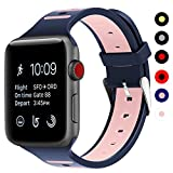 Covery Apple Watch Band 38mm, Soft Silicone iWatch Band Two - Tone Stripe Wristband for Apple Watch Nike+, Series 3, Series 2, Series 1, Sport, Edition- Blue&Pink