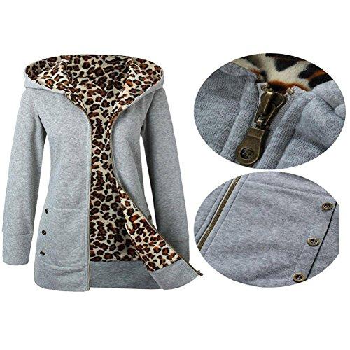 Yellow Down Leopard Women's Hooded Zipper Jacket Outwear Plus XXL Velvet Manadlian Sweatshirt Gray Thicker 75x8qRqwd