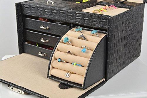 XXL coffret à bijoux/boîte à bijoux , simil,cuir , noir Amazon.fr Cuisine  \u0026 Maison