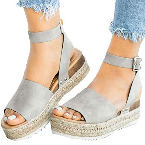 XMWEALTHY Women's Ankle Strap Platform Wedges Sandals Casual Open Toe Espadrilles Sandals for Summer Grey US 6