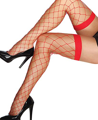 Coquette 1769 Women's Fence Net Thigh High Stockings - One Size - Red (Red Fence Net Thigh Highs)
