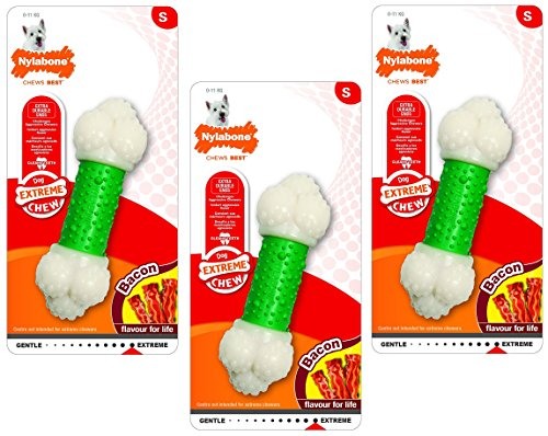 (3 Pack) Nylabone Dura Chew Bacon Flavored Double Action Chew Bones- Size Regular