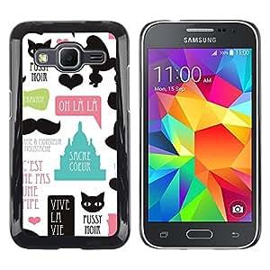 Paccase / Dura PC Caso Funda Carcasa de Protección para - Pussy Cat Poodle Paris French France Love - Samsung Galaxy Core Prime SM-G360