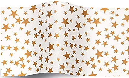 Patterned Printed Christmas Tissue Wrapping Paper Silver Stars 5 Sheets