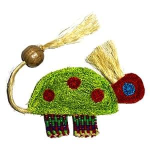 Eco-Loofah Ethnic Maka Tenuki Queen Turtle Cat Toy, Light Green