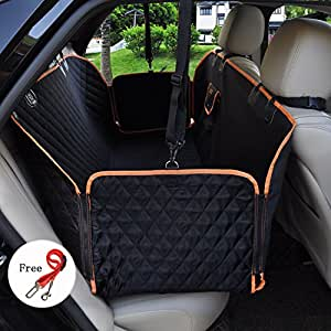 Pet Seat for Car Dog Seat Cover Waterproof Hammock Pet Seat Covers Heavy Duty & Waterproof with Side Flaps 53.5''X57'' Black