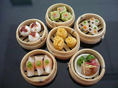 Set of 6 Dim Sum Chinese Food Dollhouse Miniatures