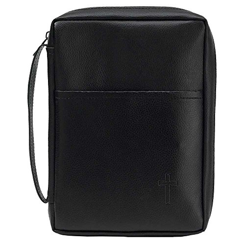 Black Cross Leather Like Vinyl Bible Cover Case with Handle X-Large ()