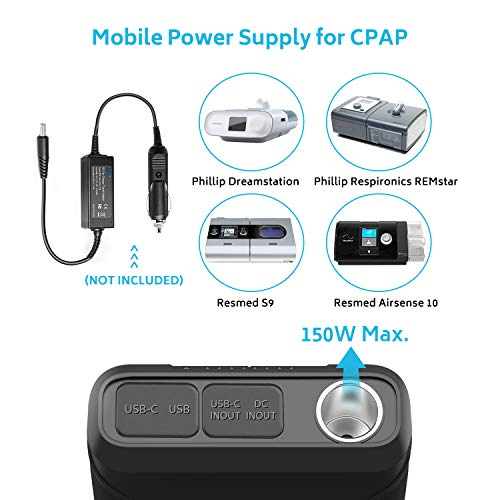 Renogy 72000mAh 266Wh 12v Power Bank con 60W PD, batería CPAP para acampar, banco de energía grande de alta capacidad para acampar con carga inalámbrica USB-C DC y linterna, fuente de alimentación de respaldo de batería CPAP