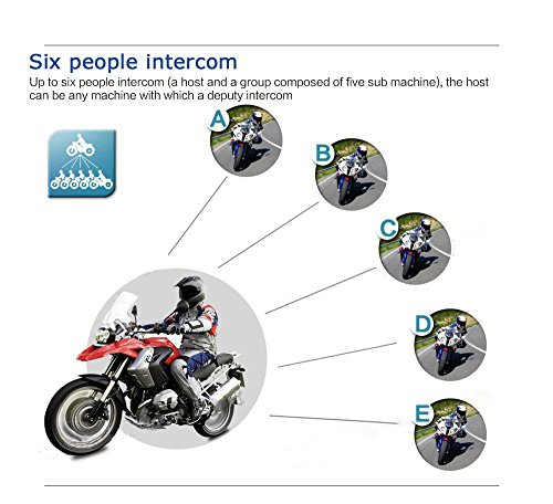 Helmet Wireless Bluetooth Intercom High-power Headset 6 Riders 1200m Waterproof Interphone 2 Pack by Eroboo (Image #2)