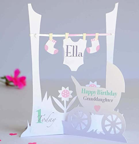 Personalised Pop Up Paper Cut 1st Birthday Card For A Baby Girl