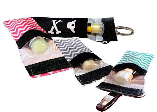 Chapstick KeyChain Holder With Secure Close Lid. 2 Pack Lip Balm Holder. (Pink, Mint, Gray, Skull)
