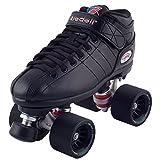 Riedell Black R3 Demon EDM Roller Derby Speed Skates w/ NEW Blue Demon EDM Wheels (95A)