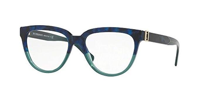 464810b8493a Burberry Women's BE2268 Eyeglasses Blue Havana/Green 53mm at Amazon ...