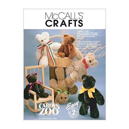 Stuffed Teddy Bear Patterns (McCalls Crafts Sewing Pattern 6188 Stuffed Animals Teddy Bear Toys)