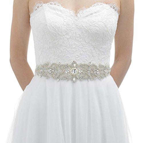 AW Wedding Belt Bridal Sash - Crystal Belt for Wedding Dress - Silver Women Belt for Prom Party Dress -