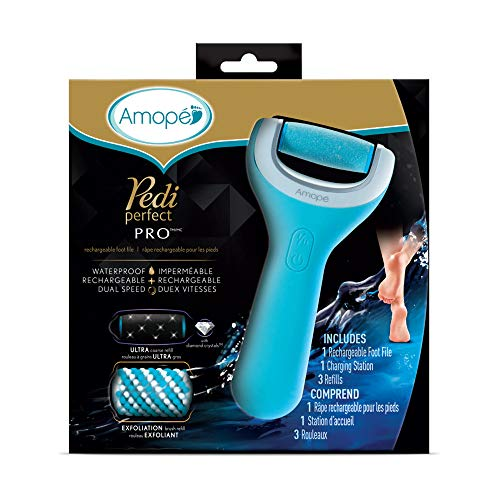 (Amope Pedi Perfect Wet & Dry Foot File, Callous Remover for Feet, Hard and Dead Skin - Rechargeable & Waterproof (Packaging May Vary) Baby smooth feet in minutes. For in home pedicure foot care spa.)