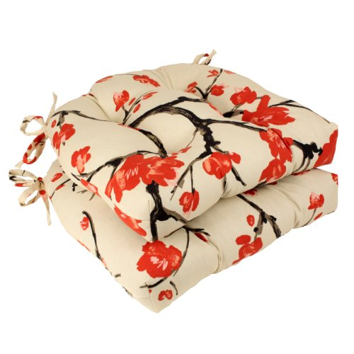 Pillow Perfect Flowering Branch Reversible Chair Pad, Beige/Red, Set of 2 by Pillow Perfect