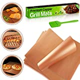 AltoFresh Large Copper Grill and Bake Mats Set of 4 with Silicone Oil Brush - Premium Non Stick, Easy To Clean, Reusable BBQ Grill Mats - Perfect for Grilling on Gas, Electric, and Charcoal Grills