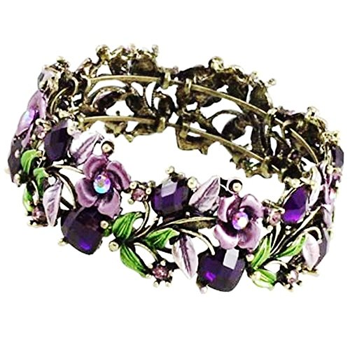 DianaL Boutique Gorgeous Antique Looking Purple Flower Cuff Bangle Bracelet Enameled Crystal Beads & Stones 1 Inch Wide (Enameled Cuff)