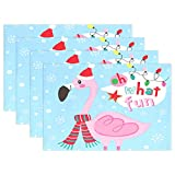 fine rectangular glass patio table Jereee Flamingo with Christmas Hat Blue Set of 4 Placemats Heat-Resistant Table Mat Washable Stain Resistant Anti-Skid Polyester Place Mats for Kitchen Dining Decoration