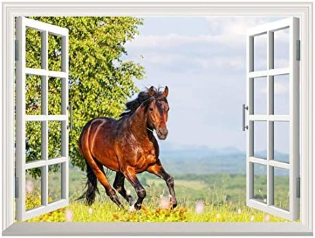Removable Wall Sticker/Wall Mural - Brown Horse Running on The Meadow | Creative Window View Wall Decor - 24
