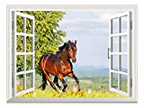 """wall26 Peel and Stick Wallpapaer -Collage -   Removable Large Wall Mural Creative Wall Decal (36""""x48"""", Brown Horse)"""