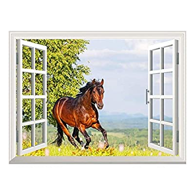 Removable Wall Sticker Wall Mural Brown Horse Running...
