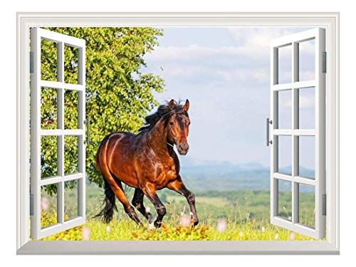 (wall26 Removable Wall Sticker/Wall Mural - Brown Horse Running on The Meadow | Creative Window View Wall Decor - 24