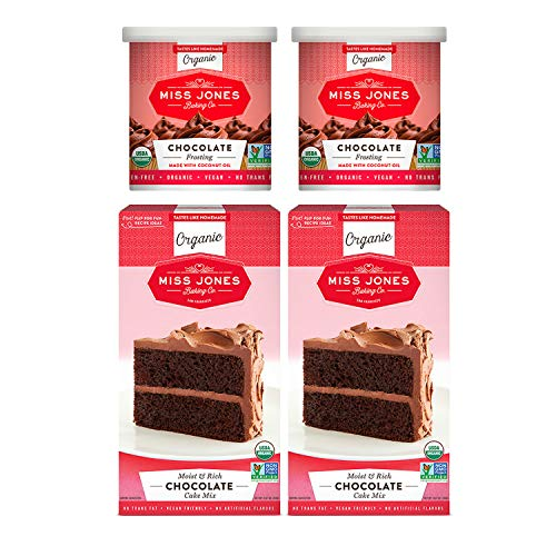 Miss Jones Baking Organic Cake and Cupcake Mix with Buttercream Frosting, Perfect for Icing and Decorating: Chocolate Cake and Rich Fudge Chocolate Frosting (Pack of 4)