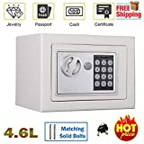 4.6L White Home Electronic Digital Safe Box Office Money Cash Safety Box Waterproof Safe Home Mini, Wall Or Floor Mounted