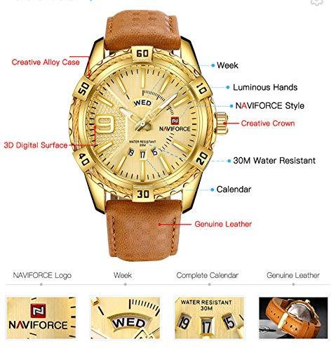 NAVIFORCE Luxury Men Sports Watches Waterproof Quartz Gold Big Face Date Clock