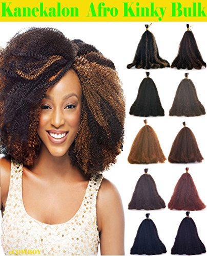 Hot Sell Kanekalon Curly Afro Kinky Bulk Extension Hair for Braiding COLOR Dark Copper Red #350 LENGTH 12'' Three Pack Deal!!! (Bundle Extensions Equal Hair)