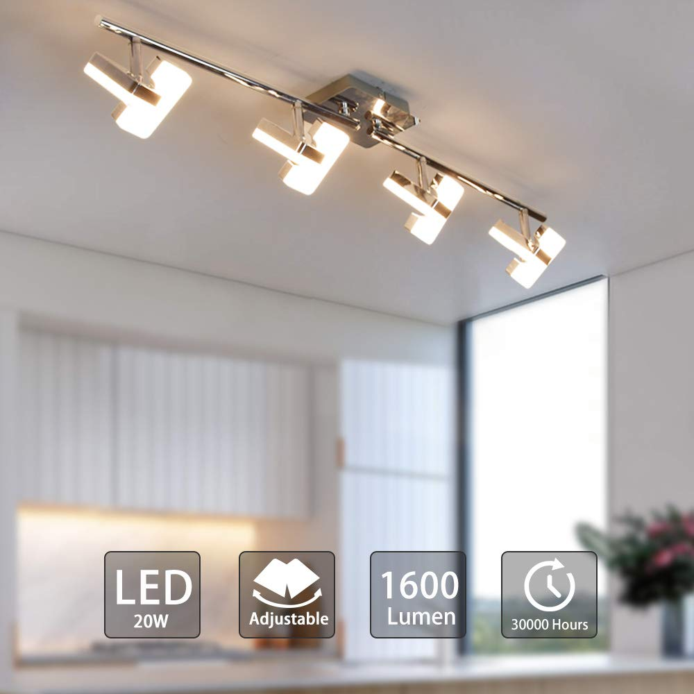 Padma Led Kitchen Lights Ceiling Lighting Fitting 4 Way Ceiling Spotlights Silver Chrome Straight Bar Adjustable Square Lamp 4 X 5w 3000k Modern Indoor Spot Lights For Living Room Bedroom Buy Online