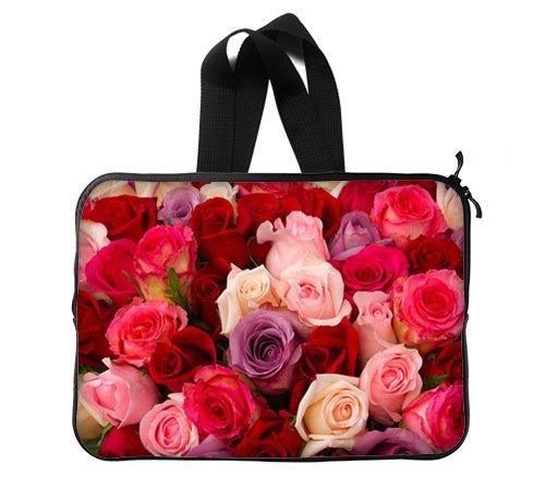カラフルな美しいチャーミングファンタジーUnique Art Cute Flower Blossom RedローズLaptop Sleeveラップトップバッグ15インチ(両面) B06Y44HY71