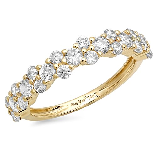 1 Ct Cluster Round Cut Unisex Pave Engagement Wedding Bridal Anniversary Ring Band 14K Yellow Gold, Size 10, Clara Pucci by Clara Pucci