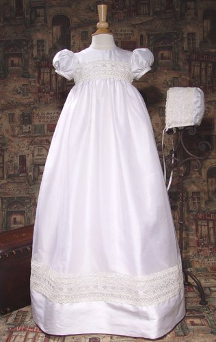Dupioni Christening Gown with Organza Lace Embroidery
