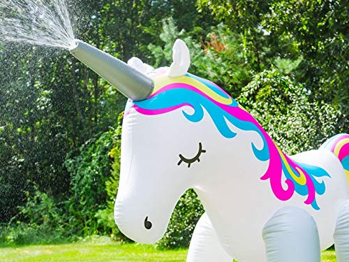 Zoostliss Unicorn Sprinkler Inflatable Water Spray Toys Giant Yard Backyard Lawn Unicorn Sprinkler Kids Outdoor Party… 6