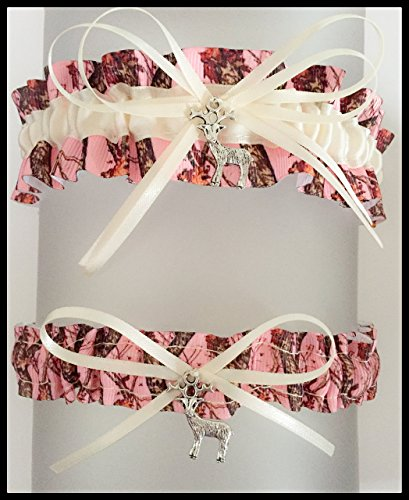 Pink Camouflage Ivory Satin Wedding Keepsake Or Bridal Garter SET - Pick Your Charm (Pink Camo Wedding Garters)