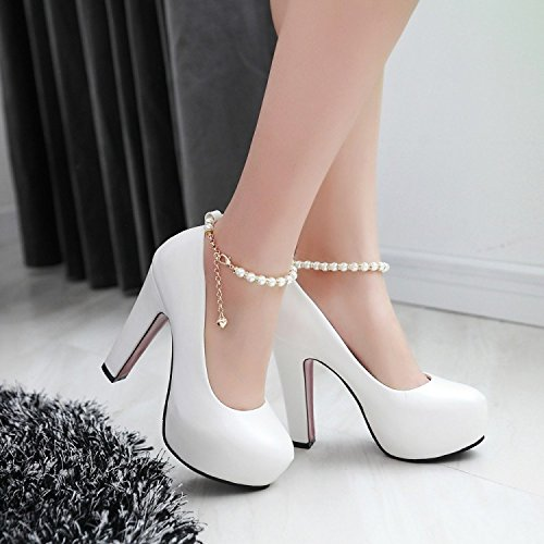 KHSKX-Fashionable High-Heeled Shoes In Europe And America Spring New Style Heel Waterproof Table Korean Shoes Sweet Women'S Shoes White tV4ZYS