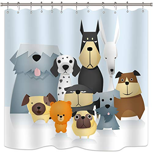 - Riyidecor Cartoon Dog Shower Curtain Colorful Painting Puppy Pets Animal for Kids Cute Decor Fabric Set Polyester Waterproof 72x72 Inch 12-Pack Plastic Hooks