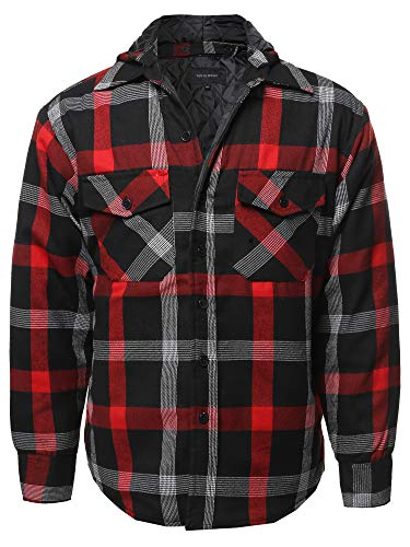 Casual Detachable Hoodie Plaid Flannel Quilted Button Jacket Red M