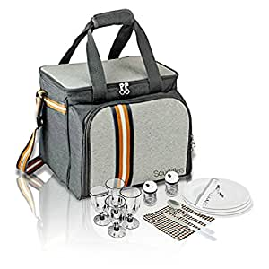 - Extra Large Picnic Basket Backpack - With Cooler 4 Person w/ Plates and Cutlery Set - By Scuddles
