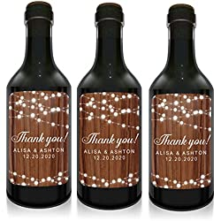 "Mini Wine Bottle Label for Wedding Celebrations, ""Thank you!"", Personalized, Customizable, Mini Wine Bottle Label Stickers- Green Watercolor Design- set of 10"