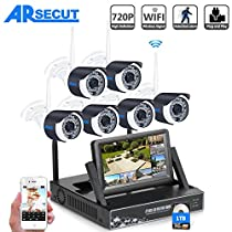 ARSECUT 8Channel 720P HD Wireless NVR Security Camera System with 6 x 720P HD Wireless IP Network Video Surveillance Cameras 1TB Hard Drive (Wireless NVR built-in Router with 7Monitor)
