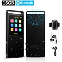 Grtdhx 16GB Bluetooth MP3 Player with FM Radio/Voice Recorder, Lossless Sound, Metal Touch button, 1.8 Inch Color Screen, 50 Hours Playback, HD Sound Quality Earphone, with an Armband, Black