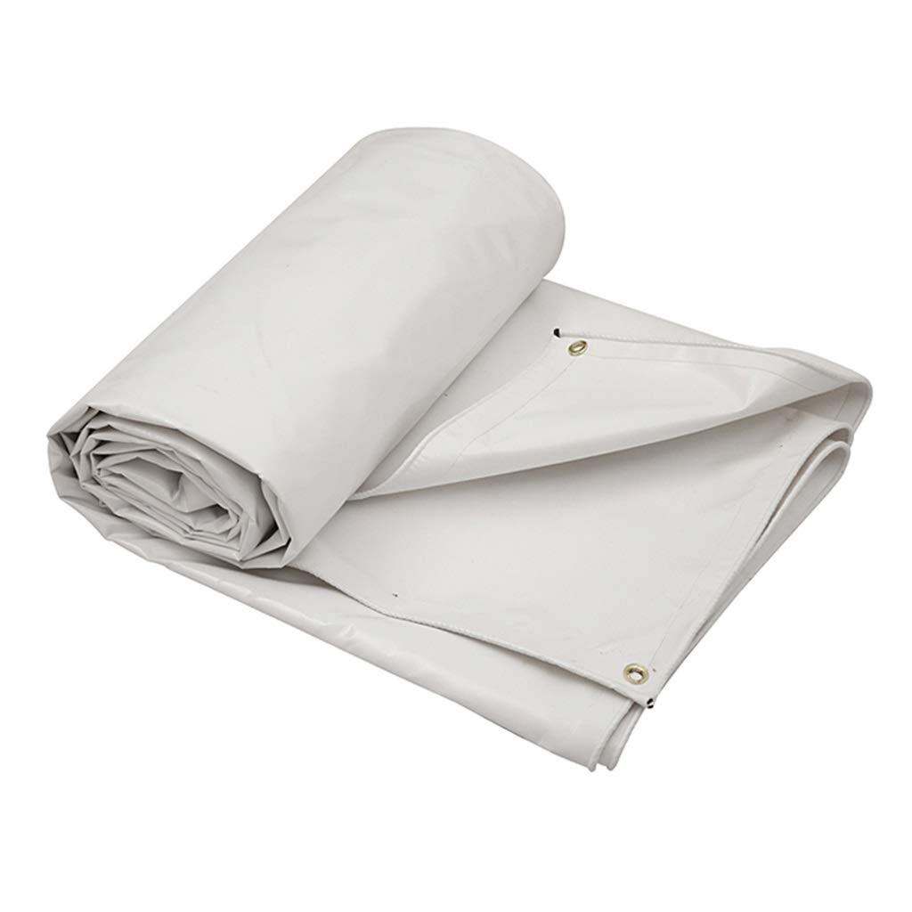 アウトドアタポリン両面防水ヘビーデューティサンシェードレインサンスクリーン防風トラックカバーカーゴクロス - 670g /m²、厚さ0.6mmアルミニウム亜鉛ボタンホール (色 : 白, サイズ さいず : 6X5M) 白 6X5M