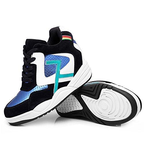 Shenn Mujer Cordones Cuña Tobillo Alto Casual Cuero Zapatillas Zapatos Negro&Azul