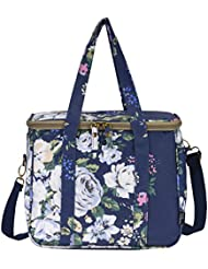 WONDERFUL FLOWER Large lunch bags for women Insulated Picnic Bag lunch Box Bag (003 Navy)