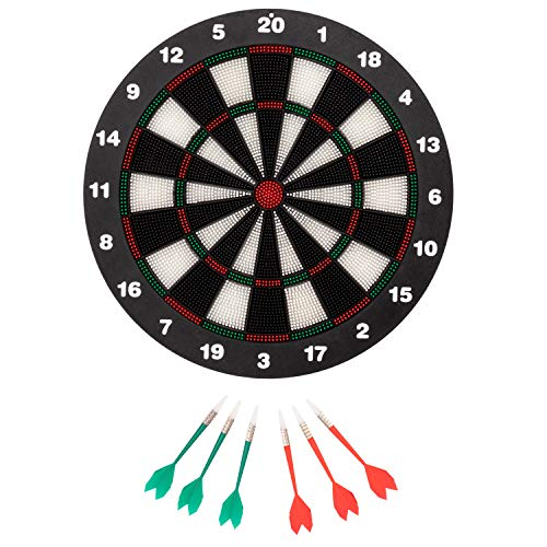 (Juvale 7-Piece Set Rubber Toy Dart Board Game, Safe for Kids &Family, Black/Multicolored, 16.5-Inches)